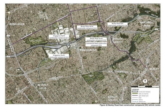 Compound vehicle routes—Bexley Road East compound (Appendix G, p. 129)