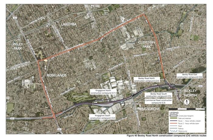 Compound vehicle routes—Bexley Road North compound (Appendix G, p. 125)
