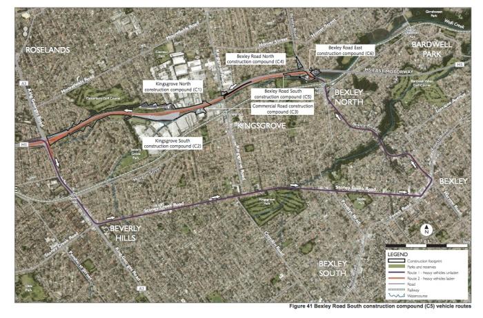 Compound vehicle routes—Bexley Road South compound (Appendix G, p. 127)