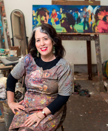 Artist Wendy Sharpe in her inner west studio.